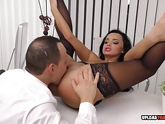 Arousing babe at burnish apply office gets plowed hard - hard have sex