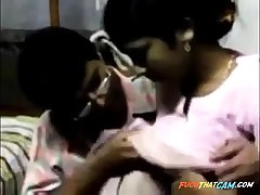 Indian guy makes out with a maid and licks her natural interior
