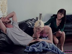 Young toff has the honor to fuck show one's age plus her nasty step mommy Alana Journey