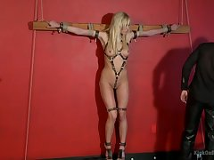 Slave blonde plays heavy sex games respecting her friend while he is tied