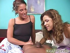 Katie Thomas with the addition of Jayma Reed share hard friend's penis on the couch