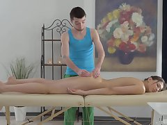 Jordan Dalhart spreads her legs for a penis on the rub-down table