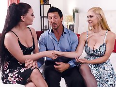 Troika sex with astonishing pornstars Sarah Vandella and Jojo Fondling