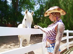 Tattooed slut Karma RX gets fucked in threesome in excess of an obstacle farm