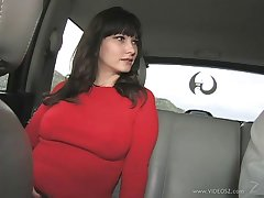 Sexy brunette babe with a piercing getting her shaved pussy drilled doggystyle near a fact carpet-bag