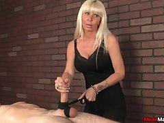 Blonde mature battle-axe does not show her boobs to make him cum