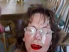 Extreme Mature Facial Lot Cum