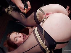 Sexual fantasy up BDSM scenes for a redhead with top ass
