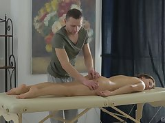 Comely Erin gets an ass imperceivable in cum after rousing massage sex