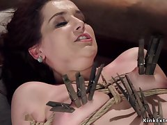 Darkhaired is toyed in gyno chair bondage