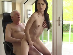 Down in the mouth young pamper ends up getting laid with her grandpa