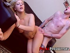 Tattooed blonde Christine Sucre fucked on the leather embed