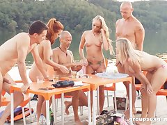 Crazy foursome fucking by the sea with Geena Gain and Sunny Diamond