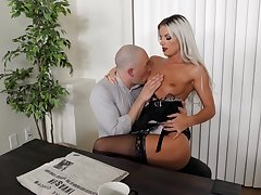 Sexy blonde maid likes making out all over the master when his wife is not home