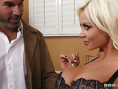 Cougar Nikita Von James in fishnet stockings pleasures her man