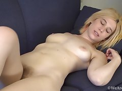 Esmeralda plays with her hot hairy cunt