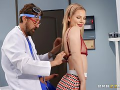 First time eon this slim beauty tries her doctor's cock