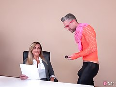 Scrawny male drills Aubrey Black in meaningless manners while both winning office