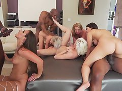 Interracial Orgy Three Girls Fuck BBCs