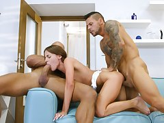 Horny men share a petite girl in rough scenes