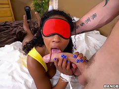 Doggy style sex with a thin ebony that screams and shakes