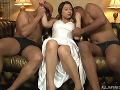 MMF threesome between two swart dudes and Japanese Mai Matsumoto