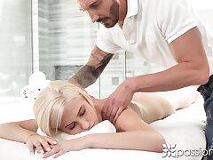 No massage is needed when blonde girl Kiara Cole notices hard boner
