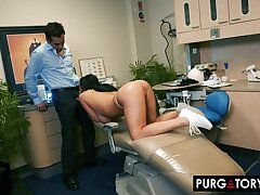 Smoking hot brunette give big bosom is having hardcore intercourse give her alluring dentist, in his office