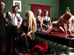 Blonde slut Tarra White gets double penetrated during group sex