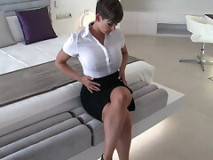 Glum secretary wet clothes reverie