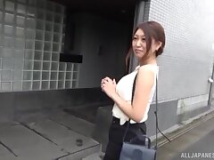 Foxy Japanese chick teases and gets fucked good in missionary
