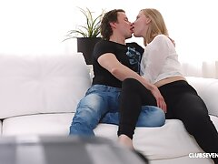 Shameless blonde shares the settee be worthwhile for make known pleasure