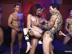 Inked slut Lola Fae enjoys rough gangbang! She squirts!