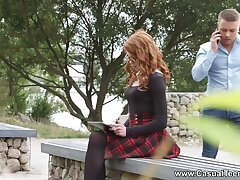 Red-hot haired college babe is fucked anally for the first time