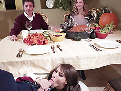 Dad's GIRLFRIEND deep-throat sonny off his underneath the table