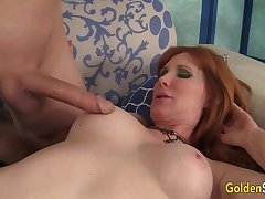 Older Ginger Freya Fantasia Blows a Long Cock Before Getting Drilled