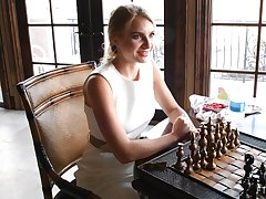 Amateur blonde infant Angelina exposes herself while playing chess
