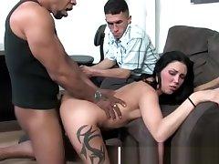 Slutty interracial babe gets a cumshot
