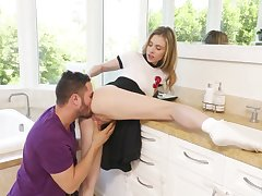 Offbeat hottie Anya Olsen gets her dishevelled pussy drilled on cookhouse counter