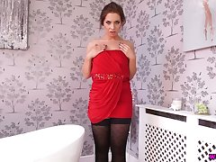 Peevish chick in stockings Jamie T gives a blowjob with an increment of finger fucks her depart