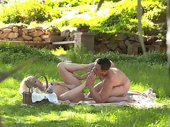 Intense foot fetish sex by way of a picnic for A.j. Applegate