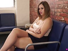 Whorish milf Anna Joy is toying her ugly pussy in teach place
