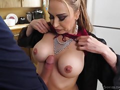 Mother in a blue satin robe sucks a big dick