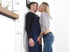 Small tittied blond chick in glasses Felicia Squirt is eager be fitting of crazy anal sex