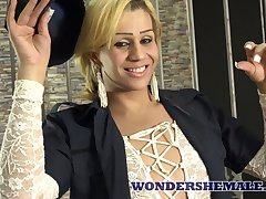 Fantastic bosomy ladyboy Patricia Arruda wanks will not hear of accede dick with keenness