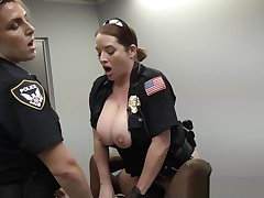 Femdom establishment officers pounding tough guy in trio
