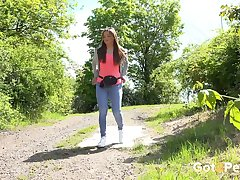 Slim brunette Dafne is such a natural pissing lady and she's kinda hot